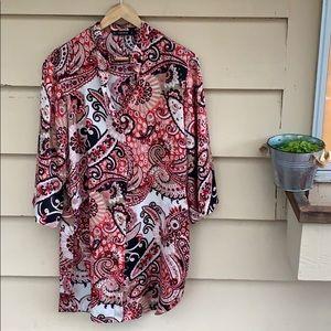 Zara Basic Long Ethnic Shirt Shift Dress S